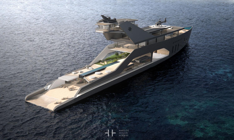 108M mega yacht. Hareide Design 2016