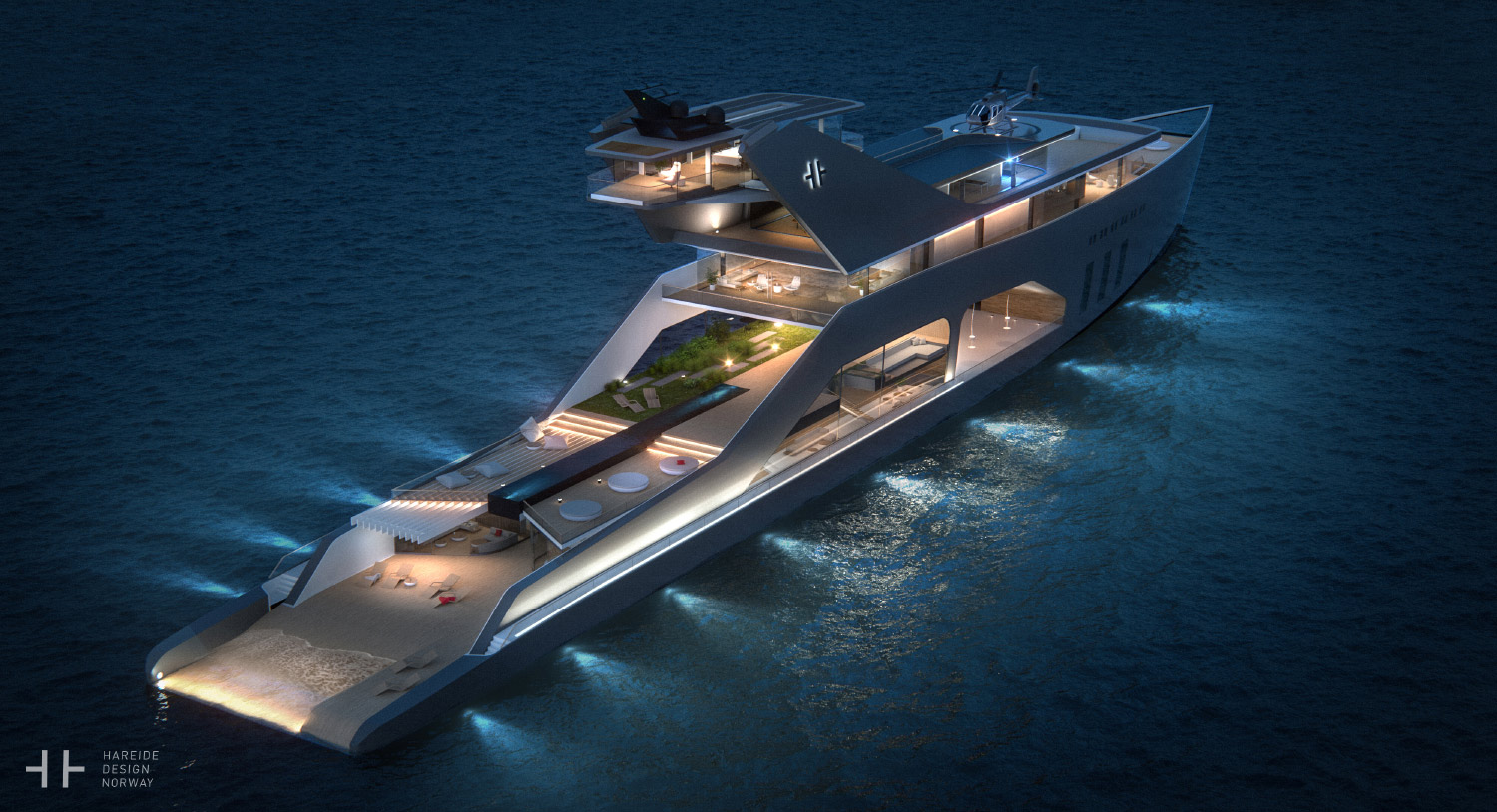 By night – 108M mega yacht. Hareide Design 2016