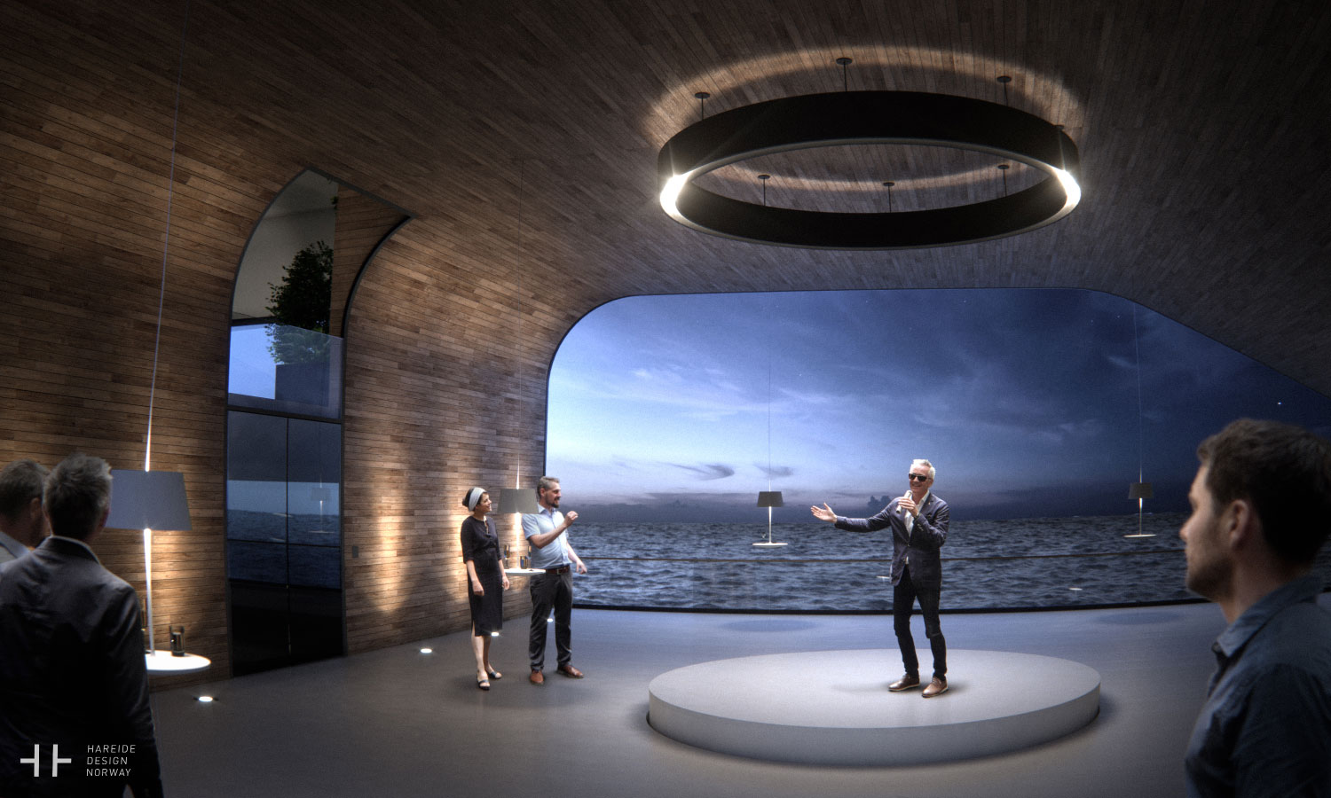The grand hall act as a multi functional room – 108M mega yacht. Hareide Design 2016