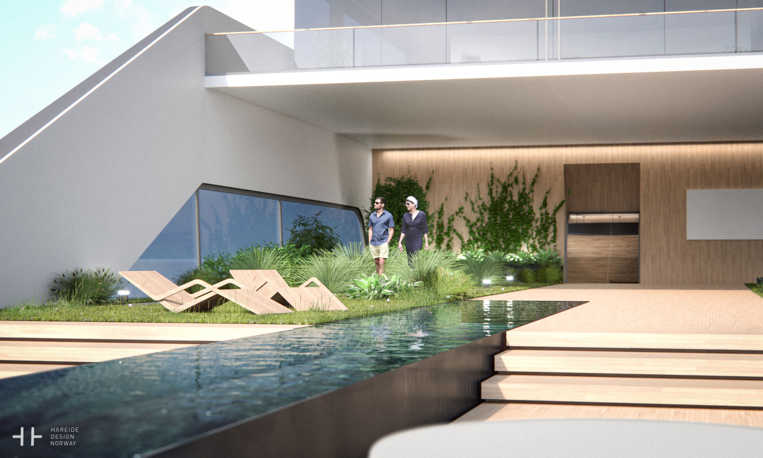 A tranquil garden with a 20m lap pool – 108M mega yacht. Hareide Design 2016